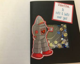 Valentine cards, handmade set of 4, robot/space theme