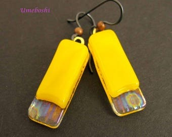 Fused Glass Handmade Layered Dangle Earrings in Yellow, Iridescent Clear Textured Glass- Artisan Jewelry Drop Earrings