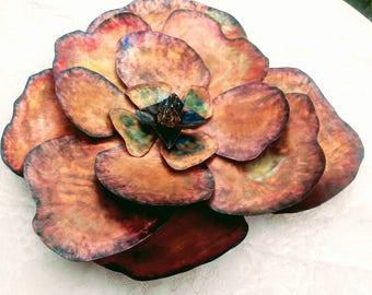 Copper Sculpture Blue Wildflower 21 inches wide