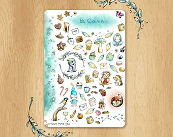 Creative Watercolor Stickers Medley for Winter Time - Perfect for Life Planners, Life Projects, Scrapbooking, etc