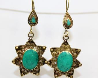Tribal-Earrings, Dangling Tribal Earrings, Tribal Star-Earrings, Star-Earrings