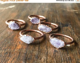 ON SALE Lepidolite Ring | Stone Ring | Electroformed Jewelry | Lilac Ring | Electroform Ring | Lepidolite & Copper Ring | Crystal Ring