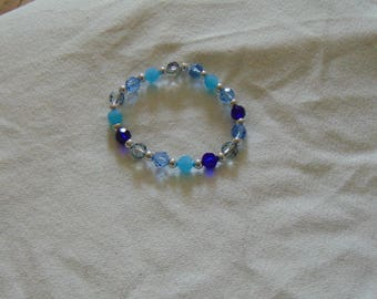 shades of blue sparkly faceted rondelle bracelet