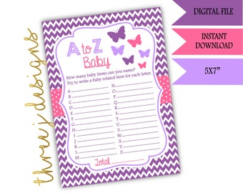 Butterfly Baby Shower A to Z Baby Game - INSTANT DOWNLOAD - Purple and Pink - Digital File - J002