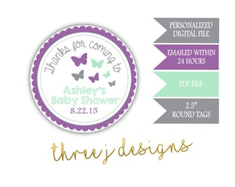 Butterfly Baby Shower Personalized Thank You Favor Tags - Gray, Lavender and Mint - Digital File - J005