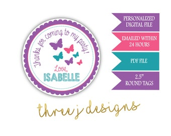 Butterfly Birthday Party Personalized Thank You Favor Tags - Purple, Pink and Teal - Digital File - J008