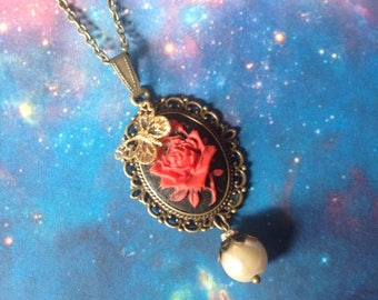 Red rose cameo necklace and bead