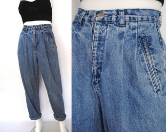 """80s high waist jeans -- stonewash, baggy, mom jeans, tapered leg, high waisted, faded, 90s hip hop clothing, 1990s 90s clothing, 25"""" waist"""
