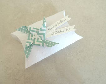 Box dragees windmill + mint wind dots Mint - thank you welcome birthday gift, baptism, wedding