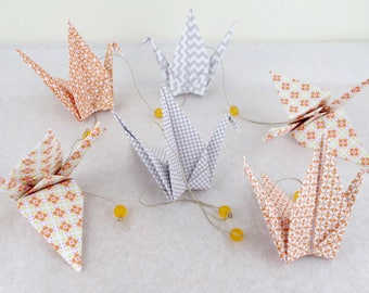 Garland 10 patterned graphic origami cranes in - orange grey - baby boy or girl, kids room decoration mixed birth gift