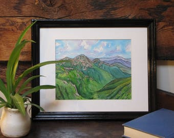 "The White Mountains on the Appalachian Trail - 8x10"" Original Watercolor Painting"