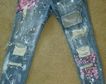 Upcycled-Distressed Frayed Ripped Handpainted Blake Lively Cherry Blossom Jeans