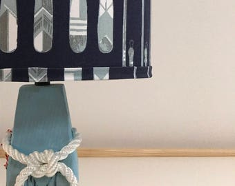 Medium Buoy Lamp with Navy Oars Fabric Lampshade