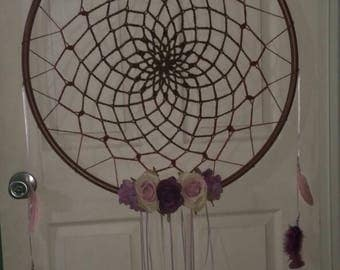 Crocheted purple flower hula hoop dream catcher;wall hanging;wall decor
