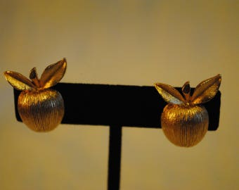 Gold apple clip on earrings by Sarah Coventry