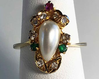 Pearl Costume Jewelry Vintage Ring. Faux Ruby, Emerald and Diamond.