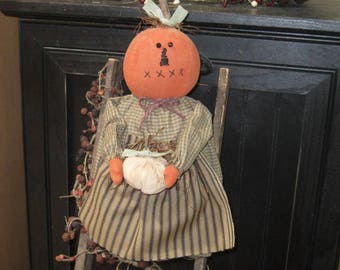 Primitive Pumpkin Doll - Pumpkin Girl - Pumpkin Doll Shelf Sitter -Fall Decoration - Autumn Pumpkin Doll - FAAP~HAFAIR~TEAMHAHA