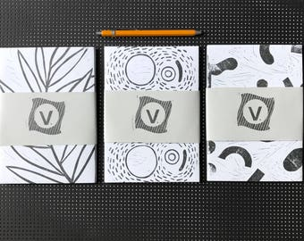 Hand printed envelope set with 6 different designs.