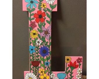 Wildflowers Wood letter L doorhanger