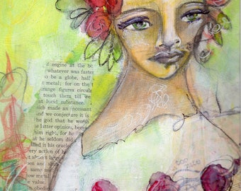 ROSES - Mixed Media Art - Feminine Art - Whimsical Art - Michelle O'Connor Art - Giclee Print