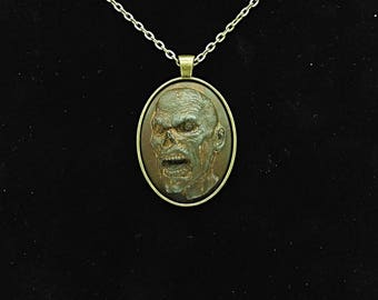 Rusty Iron Zombie Cameo on Oval Setting Necklace