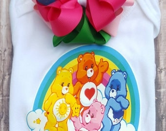 Inspired Care Bears top with hair bow clip, care bears top, care bears shirt, care bears birthday shirt