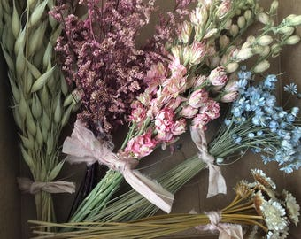Bloomery Blend No. 0029: Mini Mixed Dried Flower Bunches /  Blue - Pink - Green - Aubergine