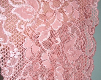 """3 yards pink french lace trim (N128)/  6""""wide stretch lace trim by the yard"""