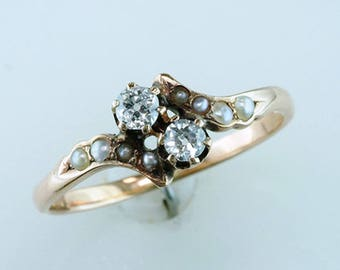 Vintage Antique Old Mine Diamond Pearl 14K Rose Gold Victorian Ring