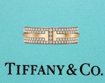 Tiffany & Co. T Two Ring .58ct Diamond 18K Eternity Wedding Band Ring