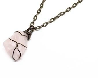 Raw Rose Quartz Necklace