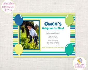 Blue and Green Adoption Invitation, Boy Invitations, Printable Adoption Invitation, Adoption Announcement, Gotcha Day, Forever Family
