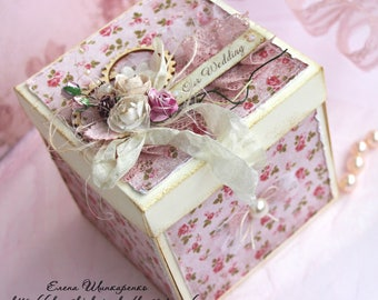 Card box money,  Wedding Box of money,  Box for banknotes, Gift wedding, Pink with a beige,Box with Cake,3D wedding card, Explosion box