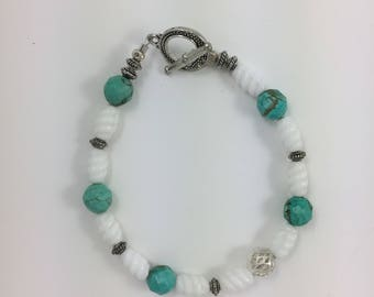 Turquoise & Glass Bead Bracelet by Pottery Lovely