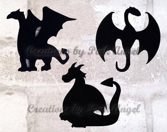 12 Large or Small Dragon Die Cuts, Dragon Cutouts, Dragons Paper Punches or Cut Outs