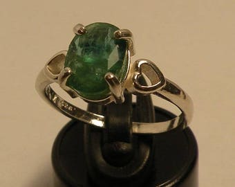 SALE! Natural emerald 1.44 ct & sterling silver 925 ring size 7