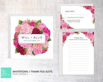 Wedding Invitation + Thanks Suite - Peony Bouquet