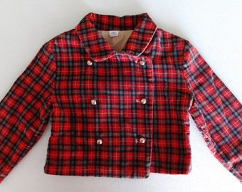 Adorable 1940s - 50s Wee Moderns Size 3 Red Plaid Corduroy Double Breasted Jacket for Boy or Girl