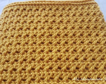 Mustard Yellow Crocheted Scarf