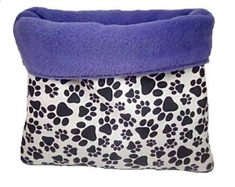 """Large 25"""" x 29"""" purple pawprint dog bed or cat bed, plush, reversible, 3 layers"""