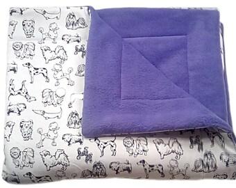LARGE Purple Dog Blanket or puppy blanket