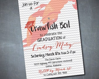 Graduation Party Crawfish Boil Invitation printable/Digital File/shrimp boil, class of 2018, girl, boy, /Wording can be changed