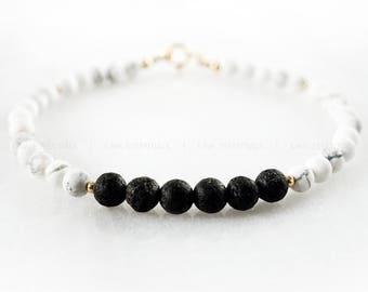 Howlite & Lava Bead Essential Oil Diffuser Bracelet - 14k Gold-filled Minimal Essential Oil Bracelet Diffuser Marble White turquoise