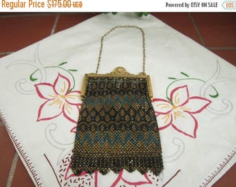 Mandalian Mesh Purse Vintage 1920's Roaring 20's Black Gold Turquoise Handbag Gold Tone Clasp Evening Bag - JB01