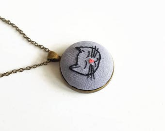 Long necklace with contemporary embroidered bronze pendant gift idea for Women and Girls with sleeping cat / Pendant 3x3cm / Chain 35cm