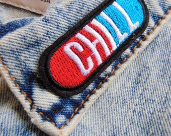 CHILL PILL Capsule Sew / Iron on Embroidery Patch Red Funny Badges Jeans T Shirts Custom Clothing UK New Ready to Use with Hot Fix Backing