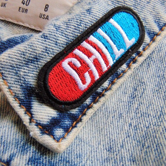 Chill pill capsule sew iron on embroidery patch red funny