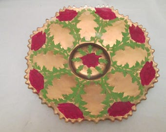 Antique Victorian Goofus Reverse Painted Roses Cake Platter Serving Dish Red Gold Green French Country