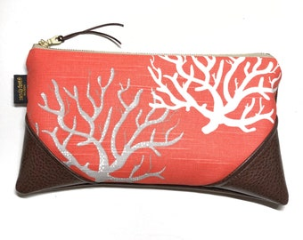 Large Salmon Sea Coral Zipper Clutch / Zip Pouch / Wristlet with inside lining and Zipper Pull or Genuine Leather Wristlet Strap