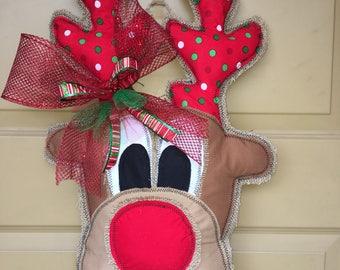 Burlap door hanger - Reindeer